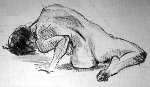 Fabienne corps en torsion de dos